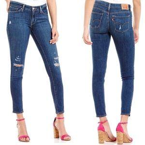 Levi's 711 Skinny Jeans Mid Rise Distressed Denim